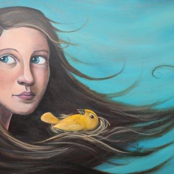 Birdnest 16x24in, acrylic on canvas, £1200