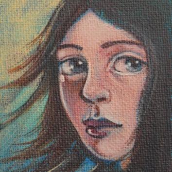Girl 3.5x2.5in, acrylic on canvas, £195