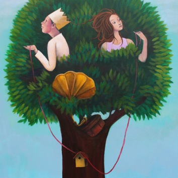 Lovebirds 36x28in, acrylic on canvas, £1650