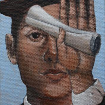 Scroll3.5x2.5in, acrylic on canvas, £195