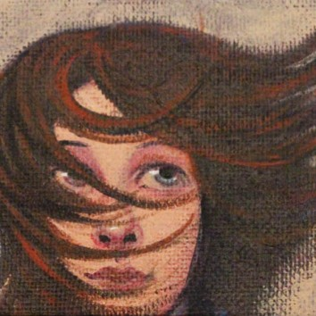 Windswept 2.5x3.5in, acrylic on canvas, £195